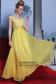 2015 Yellow Princess Floor length Prom Dresses-199