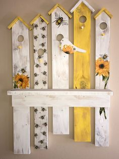 Yellow and White Bird House Wall Decor with Shelf, Pallet Wood Wall Decor, Reclaimed Wood Wall Shelf, Wood Wall Art, Bird Wall Decor – Wall Decor 2020 Wood Block Crafts, Pallet Crafts, Wooden Crafts, Wood Projects, Wood Wall Shelf, Wood Wall Decor, Wood Pallets, Pallet Wood, Bee Crafts