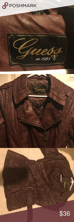 Guess Faux Leather Moto Jacket Guess Faux Leather Moto Jacket! Maybe worn 3 times. Doesn't fit. Paid about $85 Guess Jackets & Coats