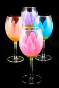 Beautiful hand painted wine glasses for your table this Spring!