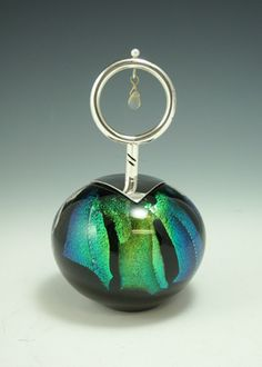 "Elaine Hyde Perfume Bottle - Blown Dichroic Art-Glass with  Sterling Silver, 18K Gold, Opal & Pearl, 5-1/2""Tall♥≻★≺♥"