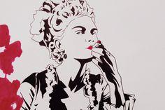 """Marie Antoinette"" pen sketch for Altar of Waste records"