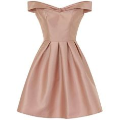 *Chi Chi London Pink Metallic Bardot Dress (€66) ❤ liked on Polyvore featuring dresses, vestidos, dresses short, pink, beige short dress, chi chi dresses, pink day dress, short pink dress and metallic dress