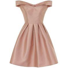*Chi Chi London Pink Metallic Bardot Dress (€66) ❤ liked on Polyvore featuring dresses, vestidos, dresses short, pink, beige short dress, chi chi dresses, pink day dress, short pink dress and metallic dress
