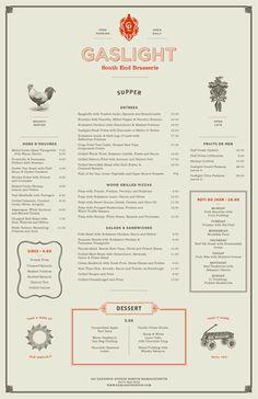 Gaslight Menus Gaslight is an American Brasserie in Boston's South End district. The menus incorporate the feel of a traditional brasserie with an American twist. Designed at Tank Design. Menu Restaurant, Menu Bar, Diner Menu, Cafe Menu, Restaurant Identity, Restaurant Design, Lettering, Typography Design, Branding Design
