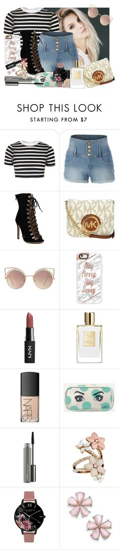 """""""It's soooo hot... >."""" by the-kiss-ofdeath ❤ liked on Polyvore featuring Topshop, LE3NO, Michael Kors, MANGO, Casetify, NARS Cosmetics, Zoella Beauty, MAC Cosmetics, Accessorize and Olivia Burton"""