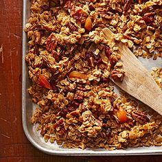 At Abilene's Victorian Inn in Kansas, chef Adrian Potter bakes this favorite granola for guests. You can eat it with milk or layered in a parfait with yogurt and fruit. We love how the recipe lets you customize the nuts and fruit to your taste. Brunch Recipes, Breakfast Recipes, Breakfast Dishes, Homemade Food Gifts, Edible Gifts, Brunch Casserole, Holiday Recipes, Just In Case, Healthy Snacks