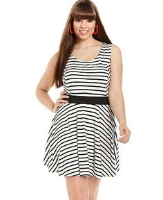 ING Plus Size Dress, Sleeveless Striped A-Line - Plus Size Dresses - Plus Sizes - Macy's
