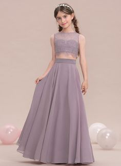 A-Line Princess Scoop Neck Floor-Length Chiffon Junior Bridesmaid Dress Šaty  Pre e178f5ce82a