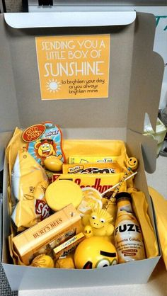 Box of Sunshine - what an awesome idea for someone in hospital, elderly care or having a tough time. The contents just have to be yellow. The specifics are endless
