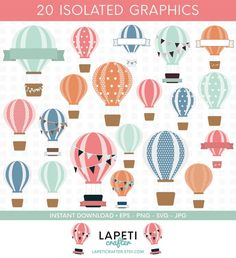 Silhouette Cameo, Hot Air Balloon Clipart, Wedding Balloons, Jewelry Party, Party Printables, Craft Projects, Crafts For Kids, My Etsy Shop, Stationery