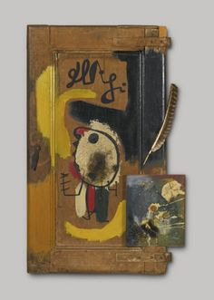 Joan Miró - Artist c. - Surrealism & Abstract Art - La porte (objet) 1931 - Painted wood, metals, turkey feathers and other found objects. Joan Miro, Spanish Painters, Spanish Artists, Collages, Turkey Feathers, Max Ernst, Mark Rothko, Mixed Media Collage, Magritte