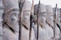 Persian Warriors   Persian stone warriors in line; statues stand in the public gardens of ...
