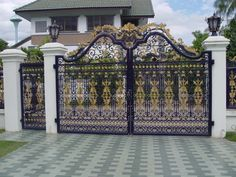 Gate And Fence Fences Simple Main Gate Design For Home Simple New Home Gates House Fence Design, House Main Gates Design, Front Gate Design, Door Design, Wall Design, Front Gates, Entrance Gates, House Entrance, Gate Designs Modern