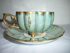 Royal-Sealy-China-Teacup-Saucer-Iridescent-Foot-Scallop-Melon-Shape-Green-Gold