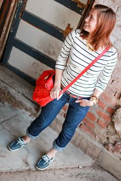 light colored capri jeans with white blouse and sperrys or black and white striped shirt