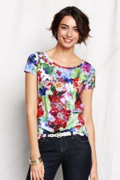 Women's Short Sleeve Slub Jersey Floral Art Tee from Lands' End