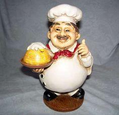 7 Tall Fat Chefs Statue French Bistro Kitchen Decor Chef Waiter Figurine New |