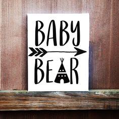 Baby Bear Sign, Baby Boy Sign, Nursery Decor, Hand Painted Canvas, Baby Boy Nursery, Baby Girls Room Decor, Handmade Sign, Baby Shower Gift by LittleDoodleDesign on Etsy
