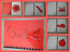 Kleurenboekje Rood. Een boekje vol met rode voorwerpen. Eenvoudig om zelf te maken: print kleurplaten af op gekleurd papier, knippen en plakken op wit papier, lamineren, inbinden en klaar! *liestr*