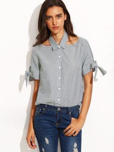 Shop Navy Stripe Cut Out Tie Cuff Short Sleeve Blouse online. SheIn offers Navy…