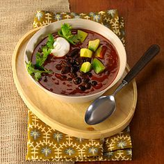 One bowl of this delicious black bean soup delivers 17 grams of protein and two kinds of calorie-torching spices. Bring it on! | health.com