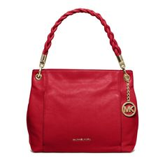 """MICHAEL KORS RED NAOMI LARGE CHILI SHOULDER BAG MATERIAL IS MADE OF A BEAUTIFUL RED SOFT LEATHER WITH A RED BRAIDED LEATHER STRAP & TRIM AND POLISHED GOLD DETAIL MEASUREMENTS: 11"""" TOP 12"""" BOTTOM LENGTH x 10""""H x 5""""D  ADORABLE & LIGHT WEIGHT POLISHED GOLD MK MEDALLION 2 FRONT ZIPPERED COMPARTMENTS TOP ZIPPERED CLOSURE WITH A RED LEATHER PULL ADORABLE RED BRAIDED LEATHER SHOULDER STRAP WITH A 10"""" DROP INSIDE ZIPPER POCKET AND 4 MULTIFUNCTION POCKETS  KHAKI MICHAEL KORS SIGNATURE LINING Michael…"""