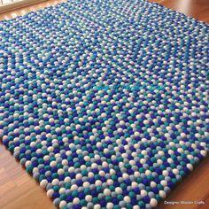 Handmade Wool Sea Breeze Blue Emerald Blue by DesignerWoolenCrafts
