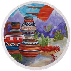 Desert Round Beach Towel featuring the painting Painted Pots And Chili Peppers by Ellen Levinson