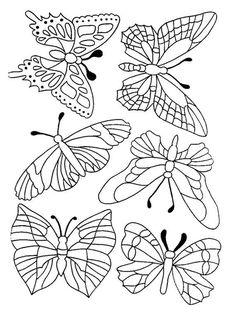 Des papillons avec des ailes à différents motifs, à colorier