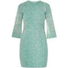 Stella McCartney Sculptural Ribs bell-sleeve mèlange-knit dress ($1,010) ❤ liked on Polyvore featuring dresses, light green, light green dress, rib knit dress, bell sleeve dress, stella mccartney dresses and rib dress