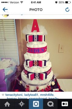 Diaper cake for baby Aiden