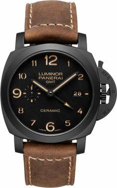 Panerai Luminor 1950 3 Days GMT Black Dial Brown Leather Mens Watch PAM00441