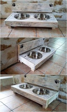 You can have this beautiful set of the dog food feeder in your house for adding the beauty over the whole surroundings. You will view the food feeder . Wooden Pallet Projects, Easy Wood Projects, Pallet Crafts, Diy Pallet Furniture, Wooden Pallets, Pallet Wood, Pallet Diy Easy, Cheap Furniture, 1001 Pallets