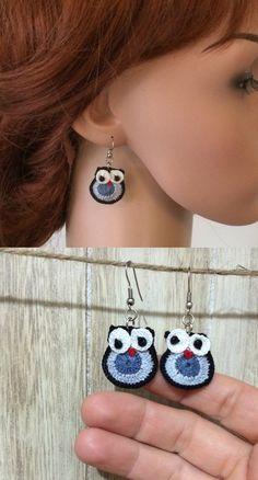 Owl Earrings, Cute Crochet Earrings, Owl Lover Birthday Gift, Beaded D… Owl Earrings, Animal Earrings, Unique Earrings, Beaded Earrings, Beaded Jewelry, Quilling Earrings, Crochet Earrings Pattern, Birthday Gifts For Teens, Teen Birthday