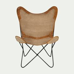 Butterfly fauteuil chaise Texas Marron Lin Lounge Fauteuil Salle à manger design NEUF