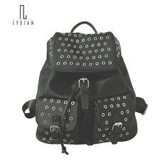 Lydian 2017 New Stylish Backpack Rivet Women bag Full Hole Metal Oxford Backpack Shoulder Bag Fashion Korean Style Black Mochila