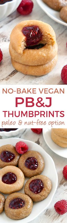 No-bake Peanut Butter and Jelly Thumbprint Cookies (vegan, grain-free, and gluten-free with a paleo / nut-free option – please click through to the recipe to see the dietary friendly options). @bobsredmill