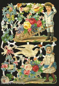 German Victorian Style Embossed Scrap Die Cut - Children, Flowers & Doves EF7180