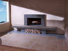 Concrete Fireplace Hearth with Wood Inlay and by TaoConcrete