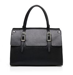 Womens black leather tote bag