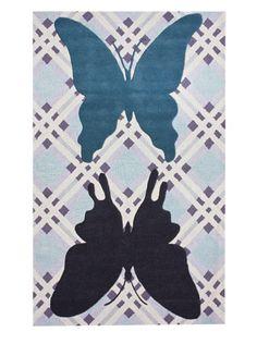 75% OFF KinderLOOM Butterfly Patchwork Rug (Blue)