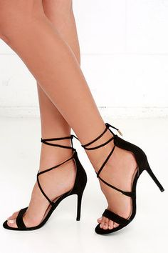 The perfect hybrid between lace-up and peep-toe, the LULUS Romy Black Lace-Up Heels own the party! Crisscrossing laces wrap around the ankle and are finished in shiny gold aglets.