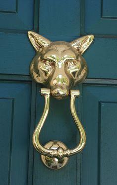 brass fox door knocker + teal door