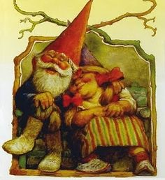 A gnome bridette wears red ribbons on her 53 and anniversary. Goblin, Baumgarten, Kobold, Growing Old Together, Elves And Fairies, Christmas Gnome, Dutch Artists, Mythological Creatures, Magical Creatures