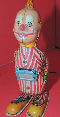 Vintage Line Mar Marx Tin Toy Clarabell Clown Howdy Doody Jumping Tin Toy