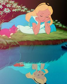 I love how in real life Dinah is looking at Alice, but in the reflection she's looking at herself :3