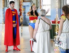 Wonder Woman conducts the wedding, helped by Superman