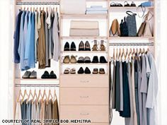 If your closet is small, rotate out-of-season clothing to attic, basement or under bed.