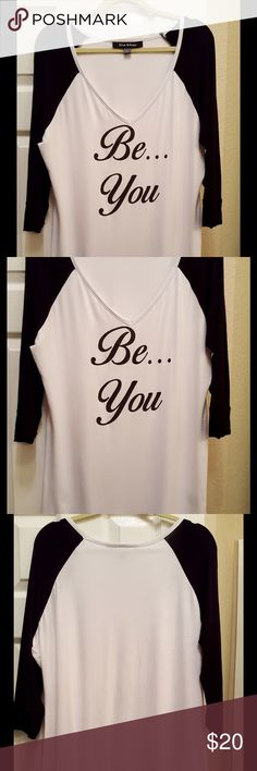 """""""Be You"""" Black & White Top! 💕 Cute Tunic Top with """"Be You"""" Design! Super cute and soft. 95% Rayon, 5% Spandex. 31"""" L with 3/4 Sleeve. Low V neckline. By Lisa Kline! Like New. No stains. Only worn a few times. Lisa Kline Tops Tunics"""